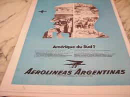 ANCIENNE PUBLICITE LIGNE AERIENNE AEROLINEAS ARGENTINAS 1968 - Publicités