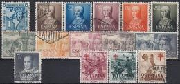 ESPAÑA 1951 Nº 1091/1105 AÑO COMPLETO USADO 15 SELLOS (SIN VIAJE A CANARIAS) - España