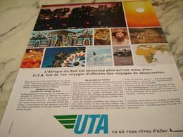 ANCIENNE PUBLICITE AFRIQUE DU SUD ET UTA 1968 - Publicités