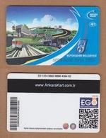 AC - MULTIPLE RIDE METRO, SUBWAY, PASSENGER FERRY & BUS PLASTIC CARD ANKARA, TURKEY PUBLIC TRANSPORTATION - Titres De Transport