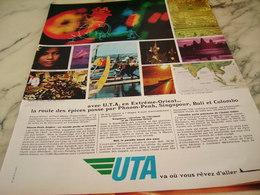 ANCIENNE PUBLICITE EXTREME ORIENT ET UTA 1968 - Publicités