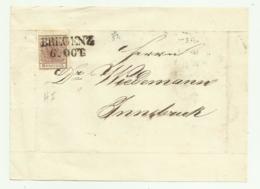 FRANCOBOLLO 6 KREUZER BREGENZ 1852 SU FRONTESPIZIO - 1850-1918 Impero
