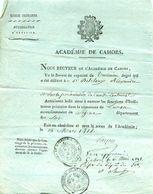 LUNAN 46 Autorisation D'exercice, Instituteur Primaire, Académie De CAHORS, 1818  DELCLAUX Alexandre - Historical Documents