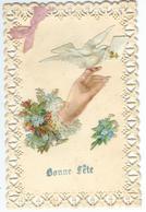 Bonne Fête - Découpis - Fleur - Main - Colombe - Noeud En Tissus - Courrier De 1907 - Fantaisies