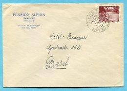 Brief Von Saas Fee Nach Basel 1950 - Absender: Pension Alpina - Suisse