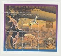 Tchad Chad Tschad 1996 / 1997 Mi. 1379A-1382A Overprint Surchargé Hong Kong '97 Dinosaures Dinosaurier RARE ! - Prehistorics