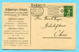 Postkarte Von Luzern Nach Chur 1917 Mit Zudruck Schweizer-Schule - Entiers Postaux