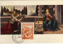Vaticano 1956 Cartolina Maximum Con Valore Serie Posta Aerea Arcangelo Gabriele Da L'Annunciazione Di Leonardo Da Vinci - Maximum Cards