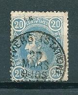 """31c Gestempeld """"pruisisch Blauw"""" ANVERS STATION - Cote 50,00 - 1869-1883 Leopold II"""