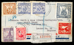 PARAGUAY. 1936. Asuncion To England. Registered Multicolor Airmail Franked Env. - Paraguay
