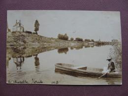 CPA PHOTO Sépia 71 CHARETTE VARENNES Bord Du Doubs 1904 RARE PLAN ANIMEE Barque Canton PIERRE DE BRESSE - France