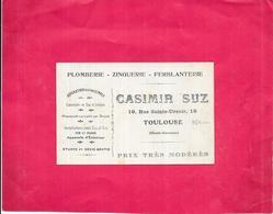TOULOUSE - 31 -   Carte PUB  PLOMBERIE ZINGUERIE CASIMIR SUZ  - DELC8 - - Cartes
