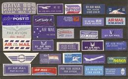 Monde - Etiquette AIR MAIL - Par Avion - Petit Lot De 30 Vignettes Différentes - Poste Aérienne - Vrac (max 999 Timbres)