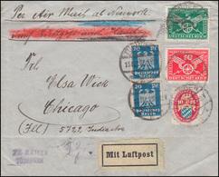 370-371 Verkehrsausstellung Mit 376 Und 358 Lp.-Bf. TÜBINGEN 15.12.25 In Die USA - Germania
