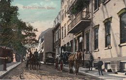 Vintage 1909 - Québec City - Rue Des Jardins Street - Animated - Horses - Stamp & Postmark - 2 Scans - Québec - La Cité