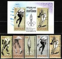 Burundi, 1964 Winter Games, Hockey, 5 Stamps + Block Imperforated - Winter 1964: Innsbruck
