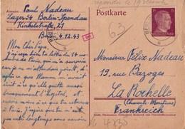 Carte Entier Postal, Année 1943, Travailleur Du STO Envoi De Berlin à LaRochelle - Historical Documents