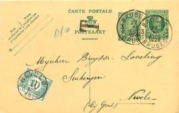 Belgique. CP 73  Brugge 3 >Nevele TX 33   1926 - 1922-1927 Houyoux