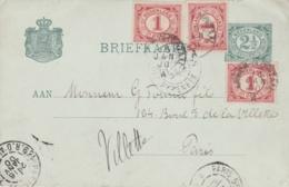 PAYS-BAS :   Entier Postal Pour La Fance Avec Complément CaD Du 16 01 1900 - Periode 1891-1948 (Wilhelmina)