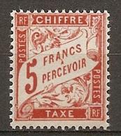 TAXE - Yv. N°  66   ** MNH   5f  Rouge-orange  Cote  3,5    Euro TBE   2 Scans - Postage Due