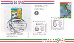 Italy Cover 1990 FIFA Football World Cup Italy - Germany-Argentina 1:0 W/German Stamp (G95-27) - Fußball-Weltmeisterschaft