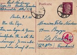 Carte Entier Postal, 08/05/1944, Travailleur Du STO Envoi De Berlin à La Rochelle - Historical Documents