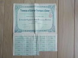 1920 Tramways & Eclairage Electriques à Catane Catania Sicile Action De Capital Siège Bruxelles - Chemin De Fer & Tramway