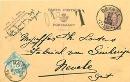 Belgique. CP 75  Deynze >Nevele TX 33   1926 - 1922-1927 Houyoux