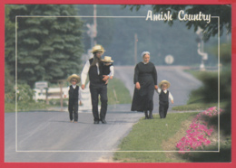 Grettings From THE AMISH COUNTRY -AMISH FAMILY - Photo D. Noble ** 2 SCANS - Etats-Unis