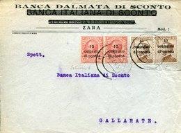 42294 Dalmazia (italia) Front Of Cover Circuled 1921 With  Stamps 40cx2 10c.corona From Banca Dalmata Zara Per Gallarate - 8. Occupazione 1a Guerra