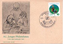 """(DDR-B2) DDR Sonderkarte """"AG Junger Philatelisten 8.OS """"Karl-Liebknecht"""" Suhl"""", EF Mi 2835, SSt. 30.5.1984 SCHMIEDEFELD - Briefe U. Dokumente"""