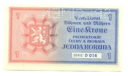 Eine Krone, Jedna Koruna, 1 Koruna, PROTEKTORAT, 1940, SPECIMEN, Čechy A Morava, D 016, Bohemia Moravia - Tchécoslovaquie