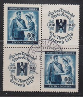 Bohemia & Moravia  Scott # B1 Used - 2 Stamps & 2 Labels In Block - Bohemia & Moravia