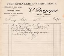 51 SACY COURRIER 1930 Maréchalerie Serrurerie DEGESNE  X19 Marne Fismes Reims - 1900 – 1949