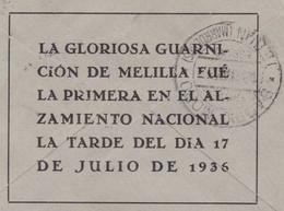 España 1937. Carta De Melilla A Tanger. Barrio Moro. Censura. - Marcas De Censura Nacional