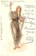"""Pretty Lady Offering Flowers. When She Smiles..."" Tuck Art Series Postcard # 3575 - Tuck, Raphael"