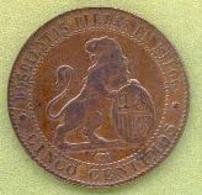 ESPAGNE  - 5 CENTIMES 1870 - [ 1] …-1931 : Royaume