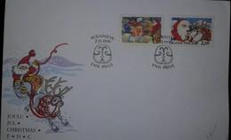 O) 1990 FINLAND SUOMI, CHRISTMAS - SANTA'S ELVES-SANTA REINDEER, FDC XF - Finland