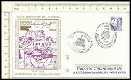 FD42 ANZIO ROMA 50 ANNI LIBERAZIONE VISITA PRESIDENTE BILL CLINTON  FDC PRIVATA 1994 A - 6. 1946-.. Repubblica