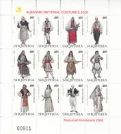 2006 2008 Albania Native Costumes Miniature Sheet Of 12 MNH - Albanië