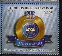 EL SALVADOR , 2018, MNH, POLICE,  26th ANIVERSARY OF NATIONAL POLICE FORCE,1v - Police - Gendarmerie