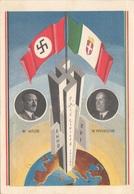 HITLER - MUSSOLINI 1938 - Karte Mit 3 Marken Und 5 Stempel - Geschichte