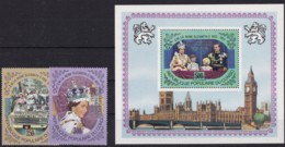 Kongo-Brazzaville, 1978, 645/46, 25. Jahrestag Der Krönung Von Königin Elisabeth II. MNH **. Aufdruck Silber - Neufs
