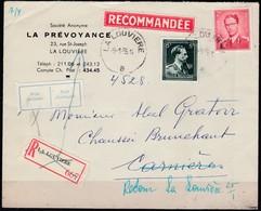 925 Met Stempel La Louviere Op Aangetekende Brief - 1953-1972 Lunettes