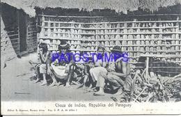 107236 PARAGUAY COSTUMES CHOZA DE INDIOS NATIVE POSTAL POSTCARD - Paraguay