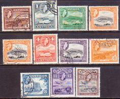 ANTIGUA 1963-65 SG #149-58 Compl.set Incl. Not Listed Colour Var For 3c Used Wmk Mult.Block CA - Antigua & Barbuda (...-1981)