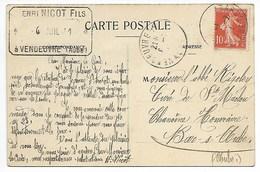 VENDEUVRE Ecrit Signé NICOT Sainterie COMMANDE 1911 POUR Bar Sur AUBE En Champagne Barse Près Troyes Brienne Le Château - France