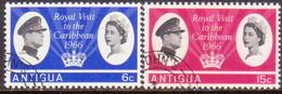 ANTIGUA 1966 SG #174-75 Compl.set Used Royal Visit - Antigua & Barbuda (...-1981)