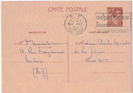 ENTIER POSTAL IRIS 80 C TOULOUSE Vers PARIS Capitaine MICHELET V° CLASSIQUE Et Ecrit PP TOULOUSE FLAMME CHEQUES POSTAUX - Ganzsachen