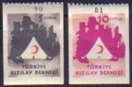 1949 TURKEY 5K And 10K. RED CRESCENT FISCAL STAMPS MNH ** - 1921-... République
